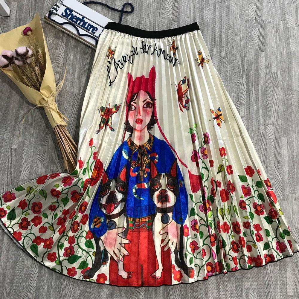 2020 New Women Skirts Elastic High Waist Slim Cartoon Letter Print A-Line Pleated Skirts Summer Cute Sweet Skirts Falda Femme