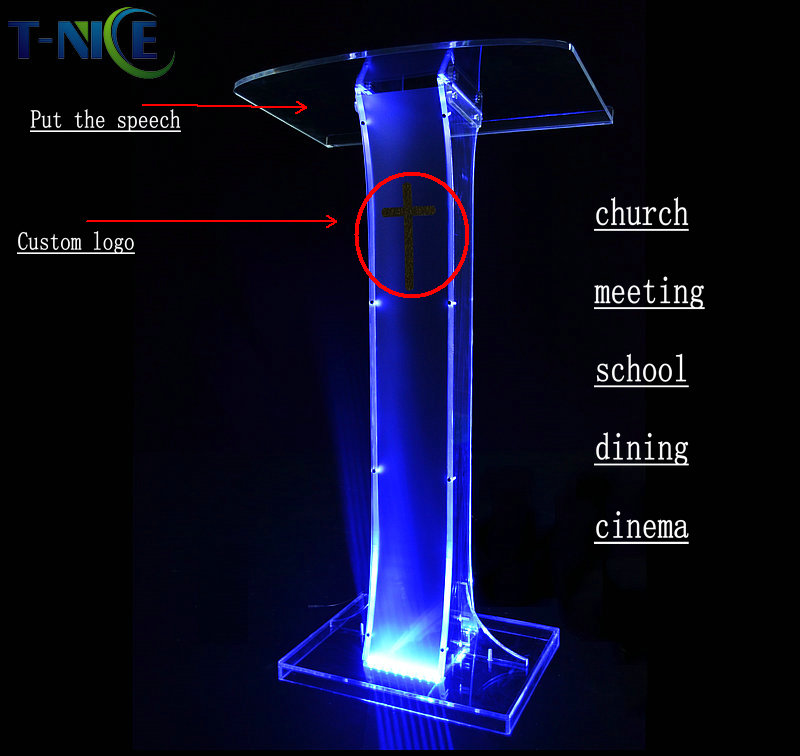 Acrylic Lectern School Furniture Plastic Rostrum Custom Podium Church Pulpit Hot Sale Glass Pulpit For Church Modern Designs