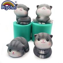 Moules en Silicone pour décoration de gâteaux pour chat, Mastic, fabrication de savon, formes en résine, plâtre polymère, artisanat
