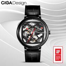 Ciga Ontwerp Top Merk Ciga Horloge Dubbele Gebogen Volledige Hollow Automatische Mechanische Horloge Retro Horloge Mannen Zakelijke Horloges