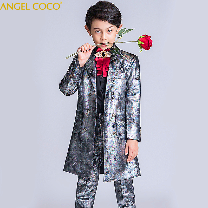 Outer-Wear Coats Jackets Boys Suits Kids Trench for Windbreaker Weddings Lapel Double-Breasted