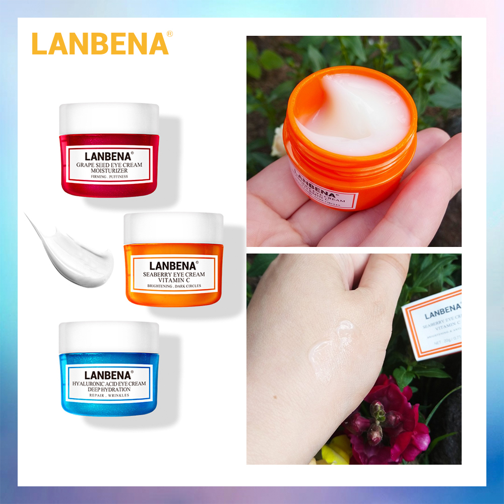 LANBENA Eye Cream Eye Serum Hyaluronic Acid Moisturizing Anti-Wrinkle Anti Aging Ageless Anti-Puffiness Dark Circle Firming 20g