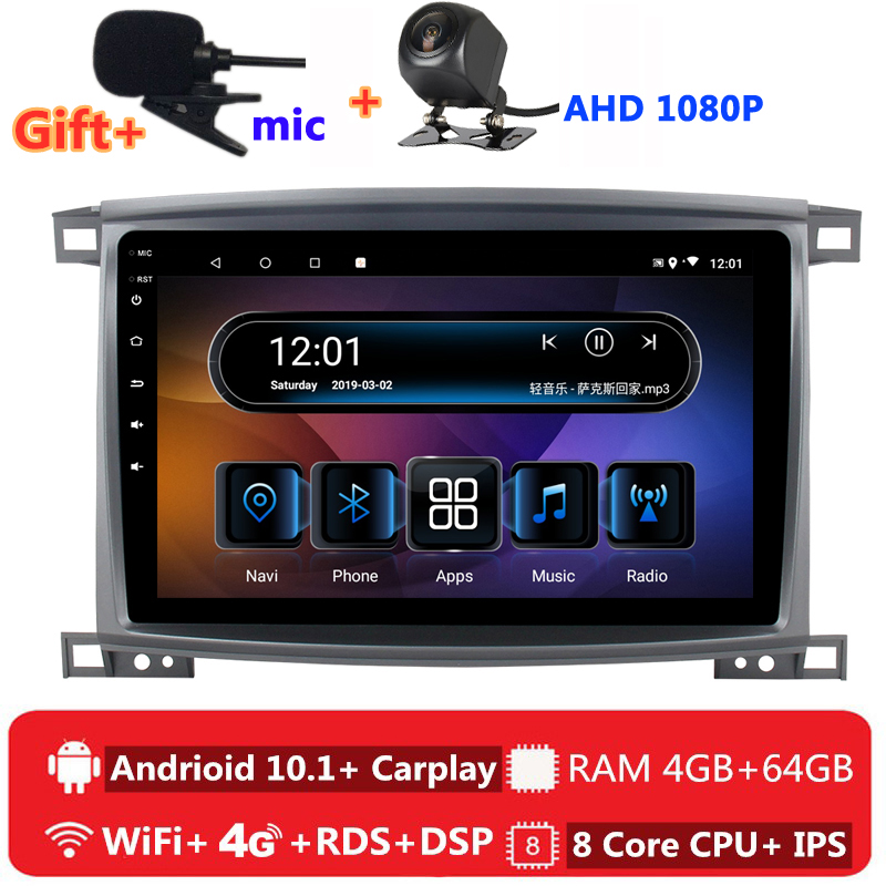 2 din 8 core android 10 car radio auto stereo for <font><b>Toyota</b></font> Land Cruiser <font><b>LC</b></font> <font><b>100</b></font> 2002 06 2007 navigation GPS DVD Multimedia Player image