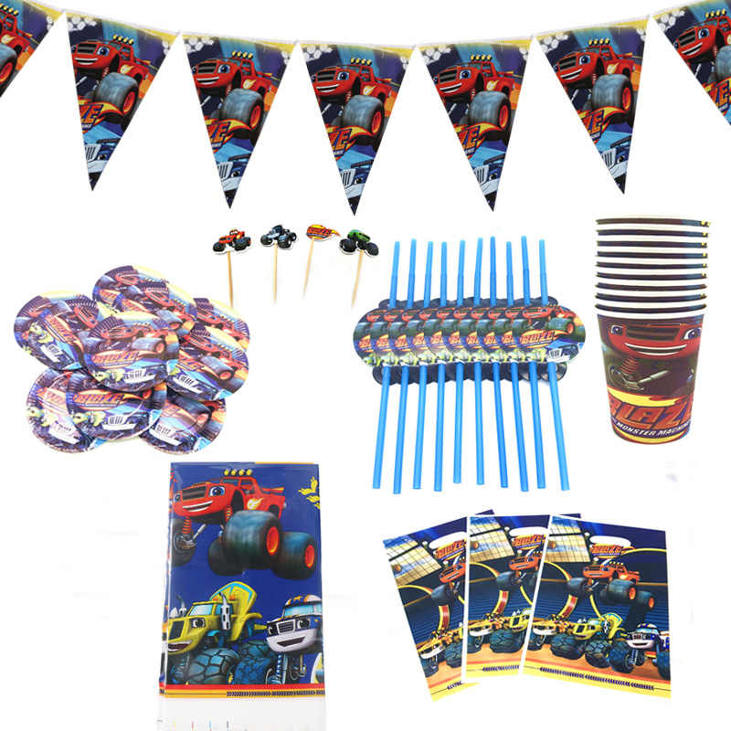Blaze En De Monster Machines Verjaardagsfeestje Decoraties Papier Cup Plaat Straw Vlag Kids Baby Shower Gift Bag Feestartikelen