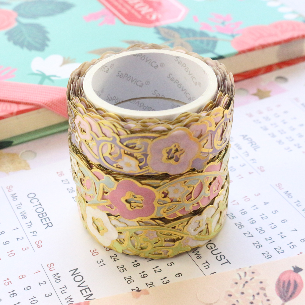 Domikee Cute Creative Gold Foil Hollow Bullet Journal Masking Tape School Diary Planner Decorative DIY Washi Tape Stationery 5m
