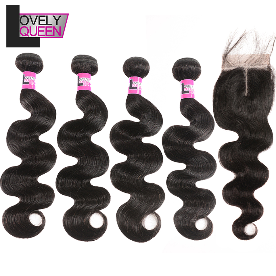 Lovely Queen Hair Peruvian Body Wave 4 Bundles With Closure Human Hair Bundles And Closure Non Remy  Grade