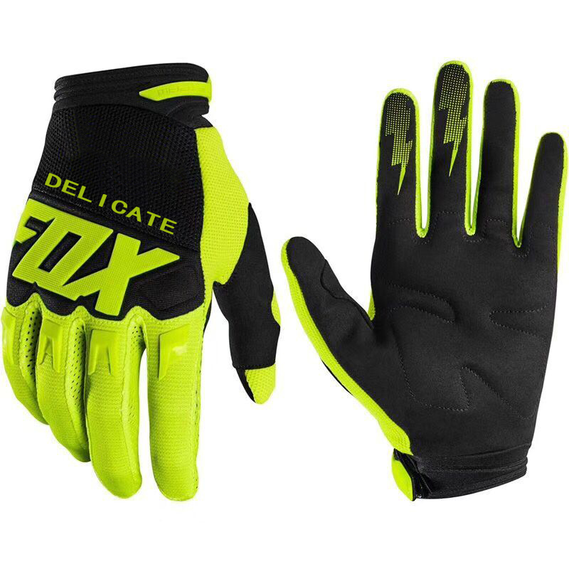 Fluo Black Delicate Fox Glove Motorbike Scooter Locomotive Downhill Bike Off-road Mens Gloves