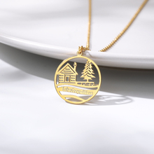 Hot Statement House Christmas Tree Round Pendants Necklace For Women Gold Color Stainless Steel Personalized Jewelry Men Gift