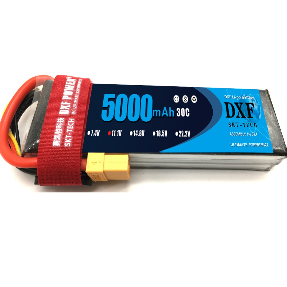 DXF FPV 450 500 11 1V 5000mAh 30C Max60C 3S RC LiPo Battery For RC Helicopter Boat Traxxas Car Battery drone in Parts Accessories from Toys Hobbies