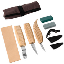 Wood Carving Tools Set, Wood Carving Knife Set of 3 with Leather Strop Polishing Compound Grinding Stone Tools Roll Wood Carving
