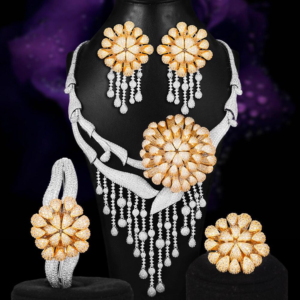 Grand chrysanthème fleur Performance mariage collier Bracelet boucle d'oreille anneau bijoux ensembles zircon cubique pour les femmes fête spectacle nouveau