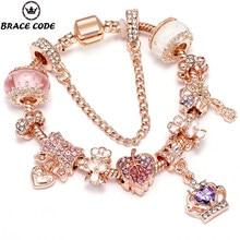 Sonykifa rosa ouro europeu charme pulseira com coroa grânulo pavé charme para entrega direta de fina pulseira de jóias femininas