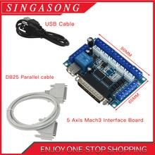 Placa de fuga cnc de 5 eixos, com cabo usb, para driver de motor de passo mach3, controle de porta paralelo