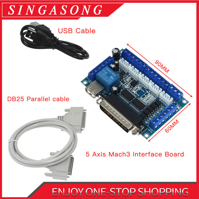 5 axis CNC Breakout Board with USB Cable for Stepper Motor Driver MACH3 Parallel Port Control
