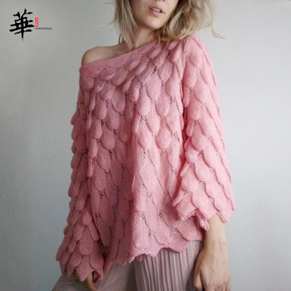 Autumn Fashion Elegant Feather Sweater Women Long Sleeve Off-shoulder Bell Sleeve Loose Casual Pullover Ladies 2019