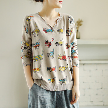 Kawaii Cartoon Cat Printed Women Pullovers Thin Tops Loose Spring Autumn Long Sleeve Casual Cute Lovely Knit Sweater V Neck Pull 1