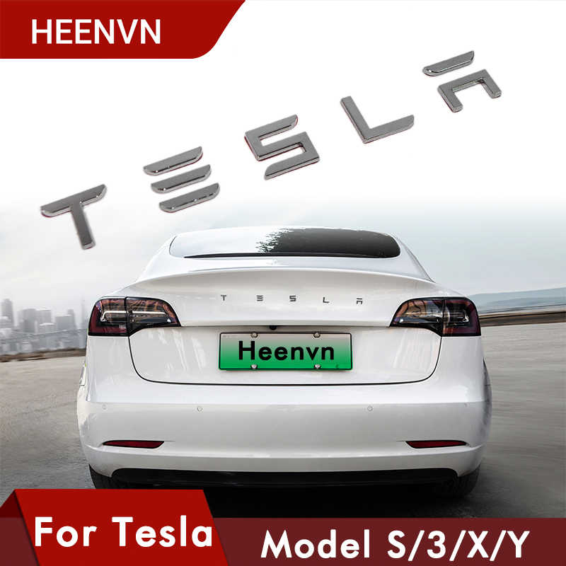 Heenvn Kofferbak Brief Sticker Voor Tesla Logo Letters Staart Brief Label Auto Accessoires Voor Tesla Model Y 3 S X drie Model3 Modely