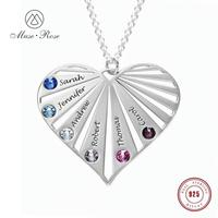 Muse Rose Customized Cubic Zirconia Heart Necklace 925 Sterling Silver Pendant Necklace for Women Family Gift for Mother
