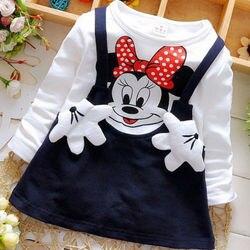 Весенне-осеннее детское платье 2020 Новое Детское платье с вышивкой хлопковое платье с длинными рукавами и принтом Минни Маус для малышей