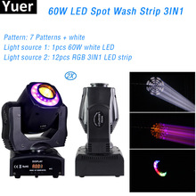 2Pcs/Lot 1pcs 60W white LED 12pcs RGB 3IN1 Strip Wash Patterns Stage Light Party Club Bar Moving Head DMX512 Disco