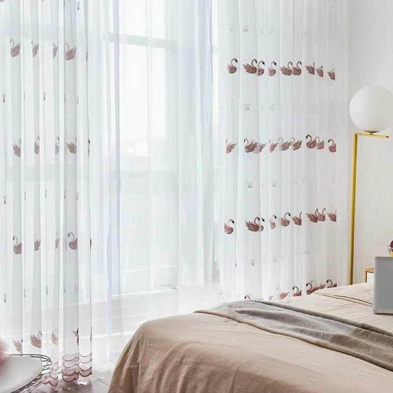 Crown Swan Curtain for Girls Kids Room Cartoon White Net Curtain for Window Bedroom Sheer Fabrics Cortinas X348#30
