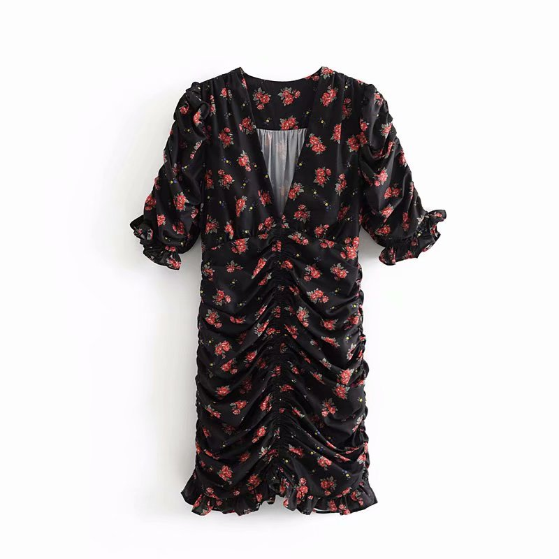 2019 Women Fashion V Neck Flower Print Casual Slim Pleated Dress Female Side Zipper Ruffles Chic Vestidos Mini Dresses DS2818