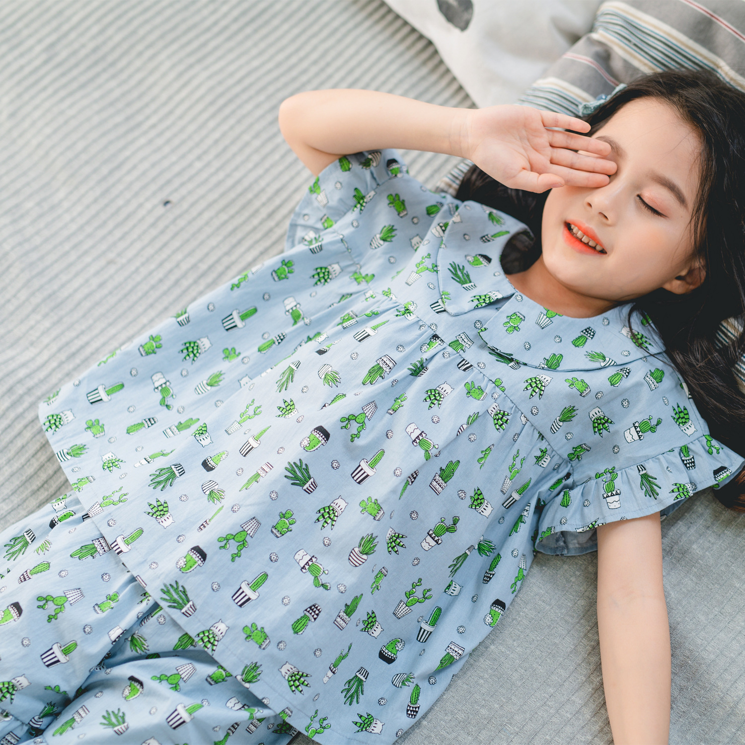CHILDREN'S Pajamas Women's Summer Thin Section Tracksuit Pajamas Suit Little Girl Nightgown Baby Summer Air Conditioning Clothes
