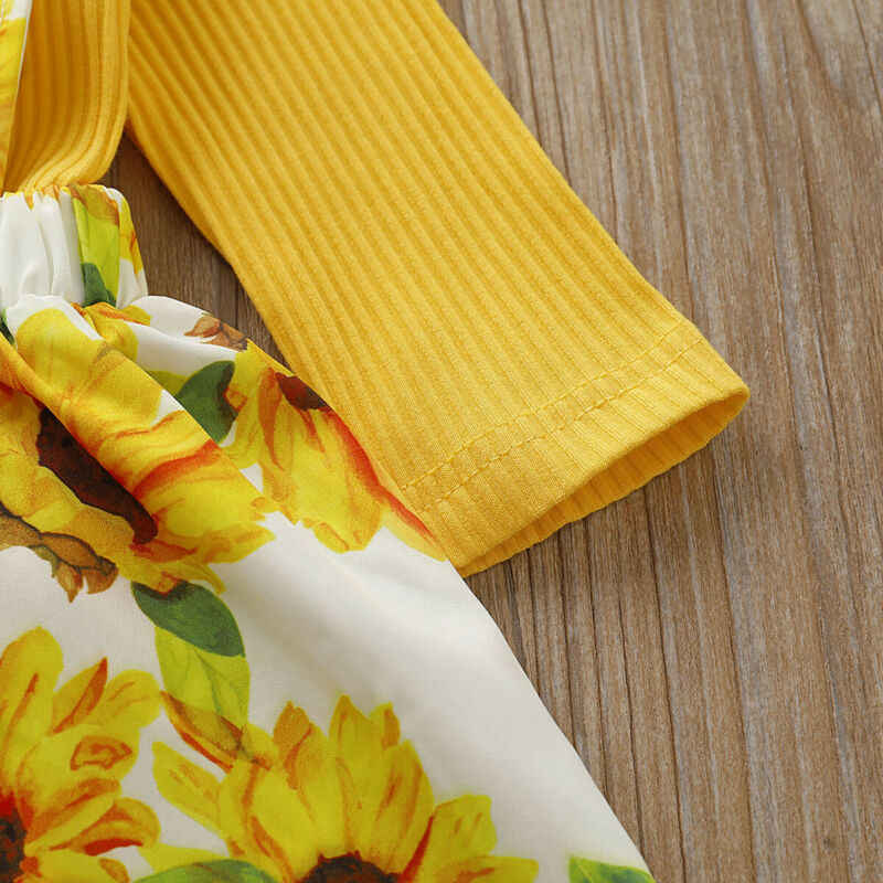 2 Pcs Balita Bayi Gadis Musim Gugur Pakaian Set Kuning Rajut Katun Baju Monyet Atasan Bunga Matahari Strap Gaun Pakaian