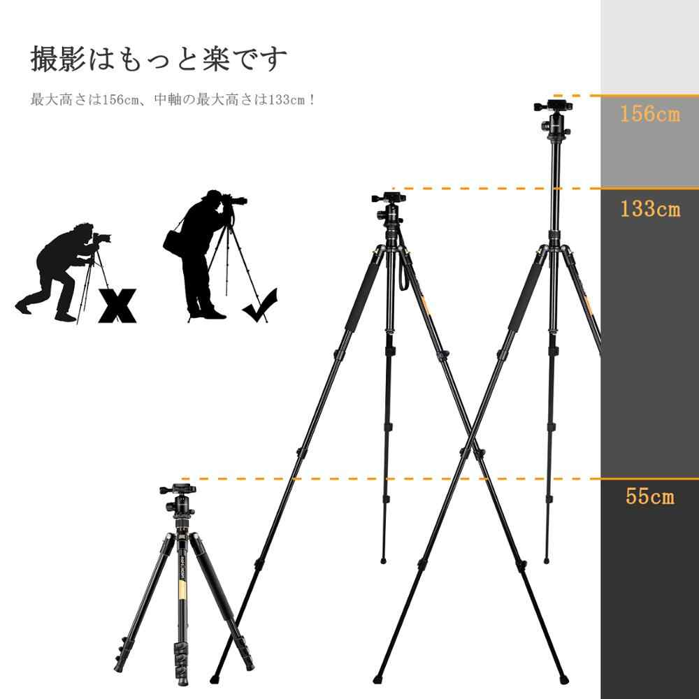 "K & F Concept TM2324 62 ""Portable DSLR Profesional Kamera Tripod + 360 Derajat Bola Kepala + 8Kg kapasitas Beban + 1/4"" Lempeng Rilis Cepat"