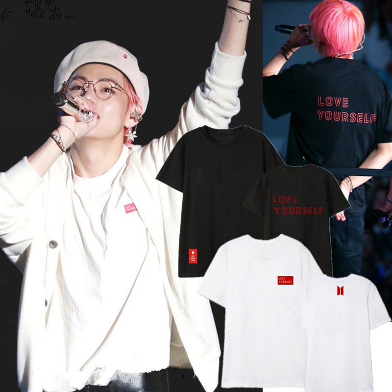 <font><b>BTS</b></font> Bulletproof Boys Concert Celebrity Style T-shirt Album LOVE Yourself Knot <font><b>Answer</b></font> Short Sleeve Wide image