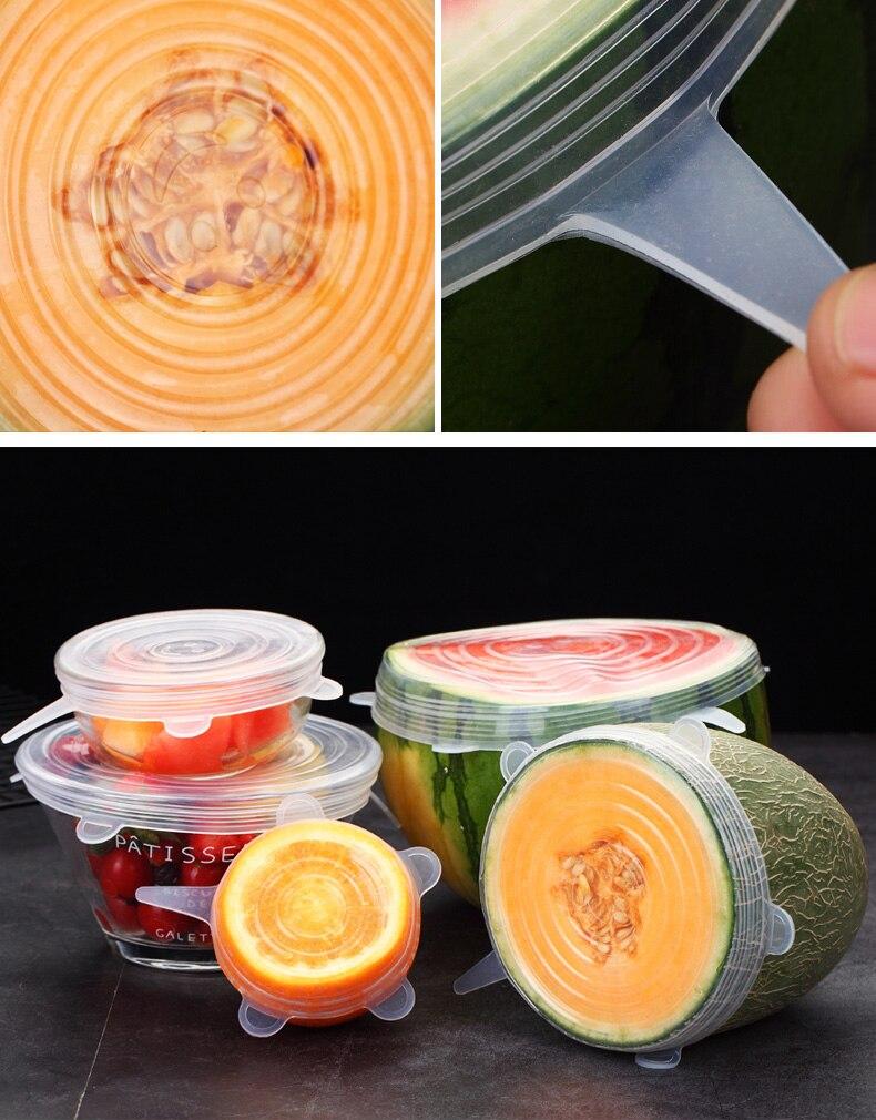 Пищевой силикон, крышка из 6 предметов для сохранения свежести, растягивающаяся и Штабелируемая Крышка для холодильника, крышка для сохране...