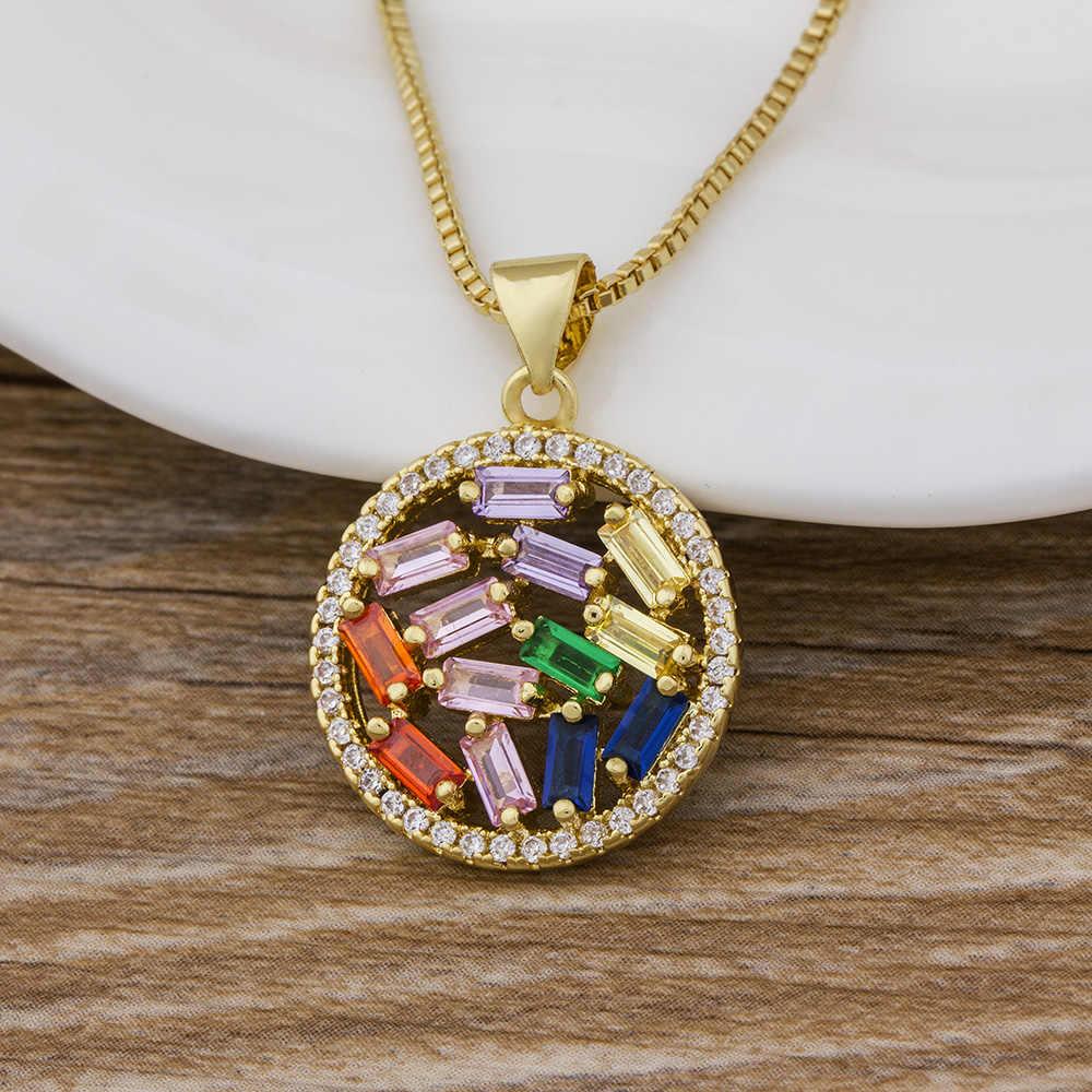 Mới Hợp Thời Trang CZ Rainbow Vòng Cổ Người Phụ Nữ Dây Chuyền Dài Zirconia Vòng Cổ Trang Sức Đá Tự Nhiên Cổ Mặt Dây Chuyền Vàng Vòng Đeo Cổ Cho Nữ