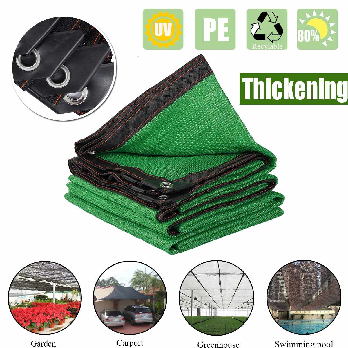 Green Anti-UV HDPE Sunshade Net Outdoor Awning Garden Swimming Pool Shade Net Succulent Plant Cover Shelter Shading Net