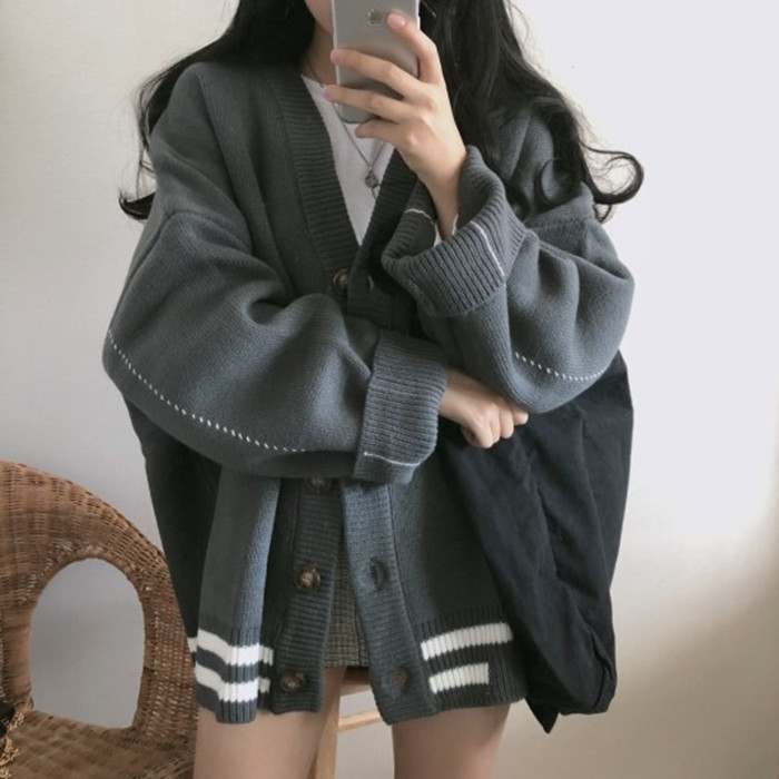 Mooirue Vintage Kintting Cardigan Women Autumn Winter 2019 Loose Striped Casual Streetwear Harajuku Korean Style Sweater