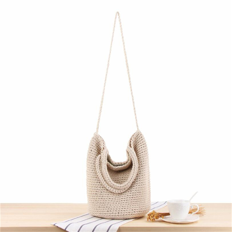 Womens INS New All-match Hand-knit Beach Bags Soft Cotton Rope Travel Bag Bohemian Summer Vacation One-shoulder Bag IL00592 image