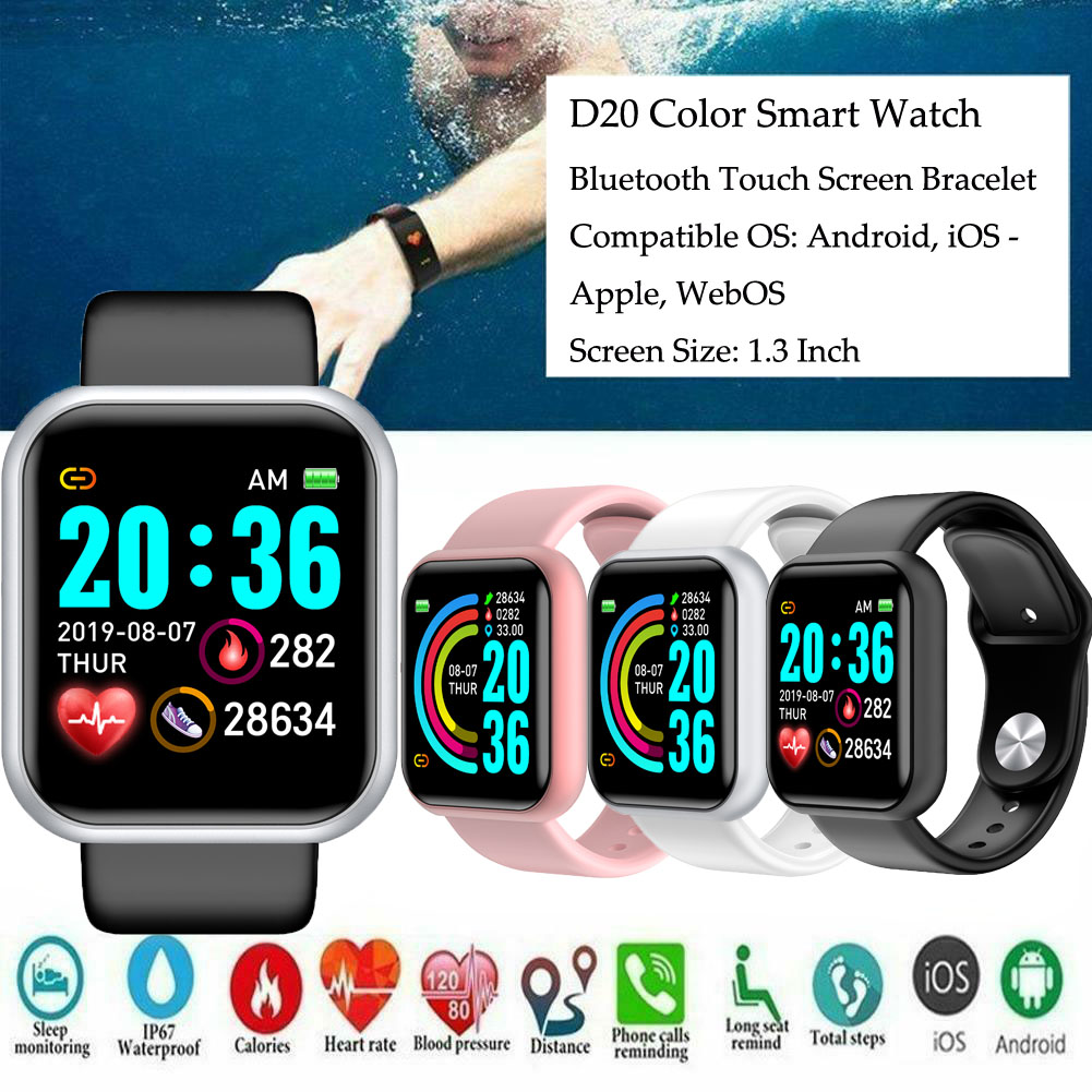 D20pro Men & Women's Smart Watch (Waterproof, Blood Pressure Monitor, Heart Rate Monitor, Sleep Tracker, Smart Watch For Android & iOS)