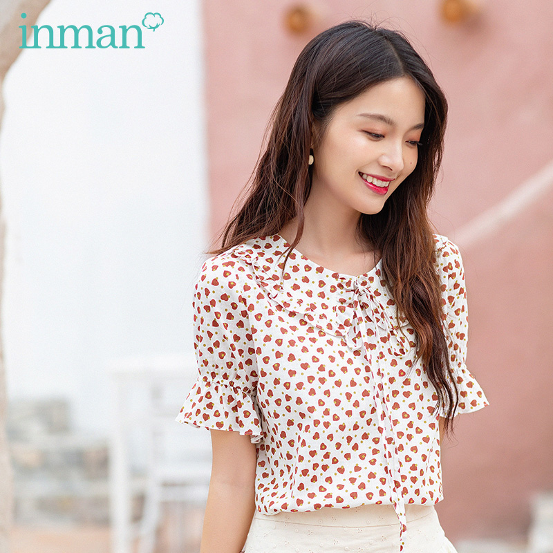 INAMN Summer New Arrival Cotton Material Bow Tie Heart Print Women Sweet Tops Blouse