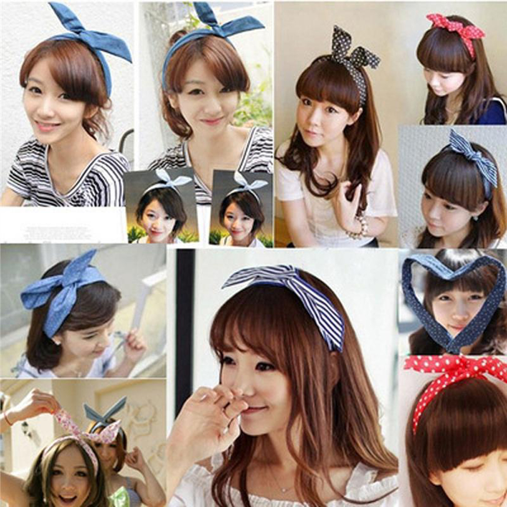1Pc Fashion Cute Bow Rabbit Bunny Ear Headbands For Girls 2020 Pink Sweet Polka Dot Wire Elastic Hair Bands Hair Ribbon Headwrap