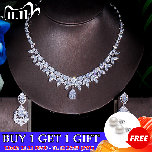 ThreeGraces Top Quality American Bridal Accessories CZ Stone Wedding Costume Necklace and Earrings Jewelry Sets For Brides JS003