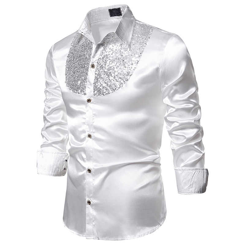 White Silk Satin Dress Shirt Men Chemise 2019 Fashion Sequins Glitter Nightclub Mens Shirts Disco Dance Prom Bling Shirt Male