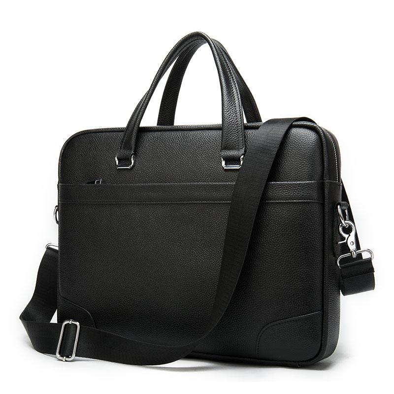 Casual Briefcase Men Leather Laptop Bag Men Leather Genuine Mens Briefcase Bags Laptop Business Briefcases Man Men's Bag    9082