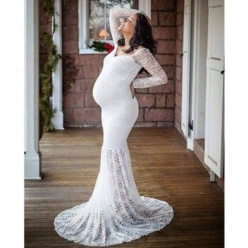 Size S-3XL Lace Shoulderless Maternity Dresses Long Sleeve Photography Props Maxi Pregnancy Pregnant Women Fishtail Dress Clothe