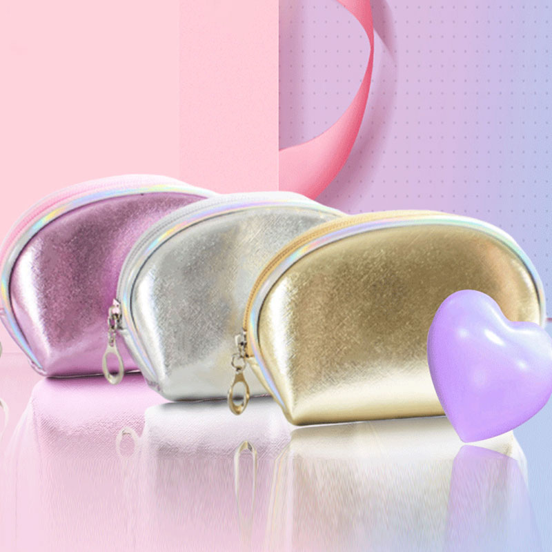 Cute Mini Makeup Bag Laser PU Leather Small Cosmetic Bags Travel Organizer Toiletry Bag Ladies Beauty Case Wash Make Up Kit Case