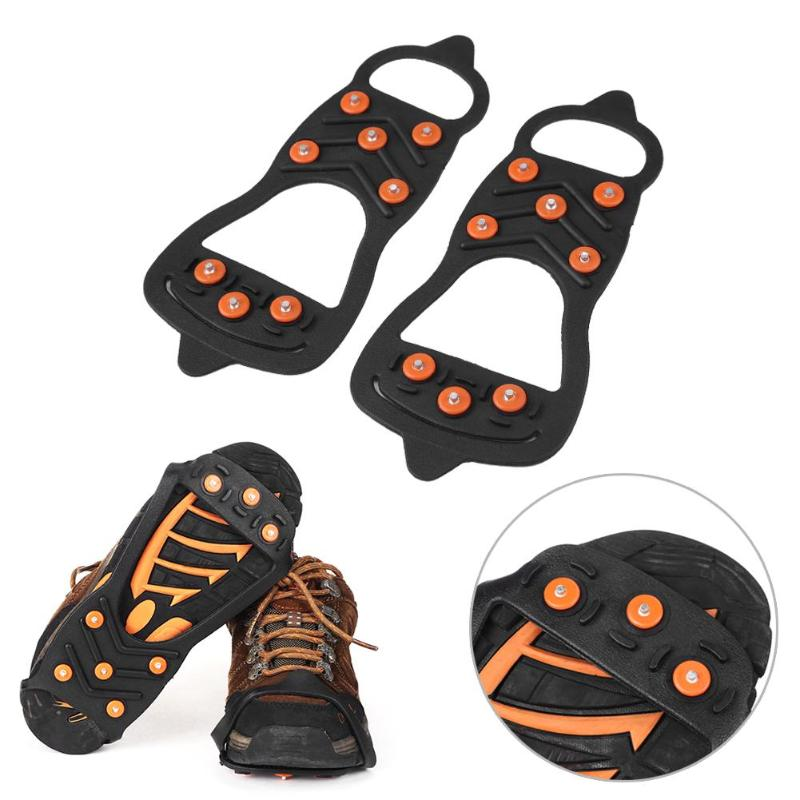 8 Studs Universal Ice Snow Shoe Spiked Grips Cleats Crampons Winter Climbing Camping Anti Slip Shoes Cover Outdoor Accessories