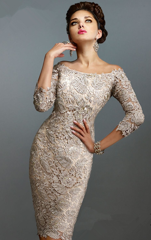 3/4 Sleeves 2019 Mother Of The Bride Dresses Sheath Knee Length Lace Plus Size Short Mother Dresses For Wedding