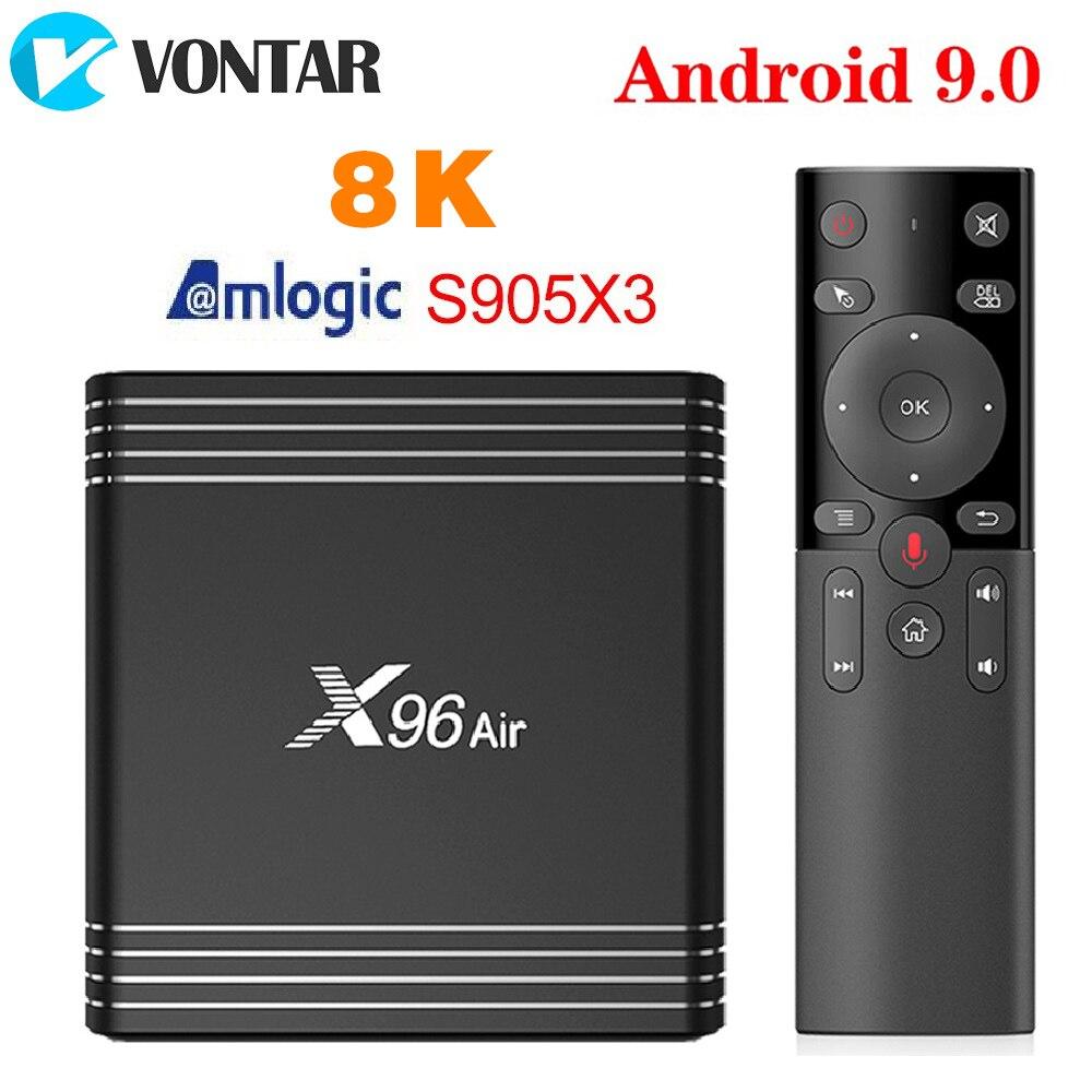 Caixa superior ajustada da tevê 4 gb 64 gb 32 gb wifi 4 k 8 k 24fps netflix x96air 2 gb 16 gb vontar x96 ar amlogic s905x3 mini android 9.0