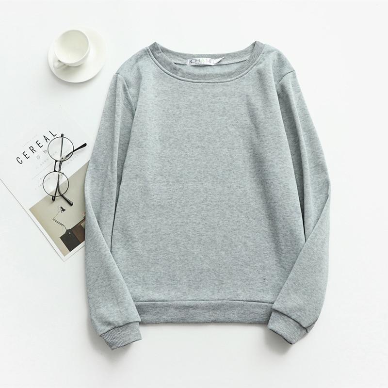 Women Solid Sweatshirts Korean Style Autumn Ladies Student Round Neck Long Sleeve Loose Pullover Tops WDC6301 21