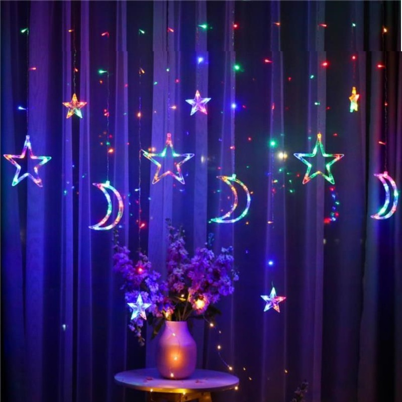 LED Lamp String Moon Star Lamp Ins Christmas Lights Holiday Lights Decoration Curtain Lamp Wedding Neon Lantern 220V fairy light