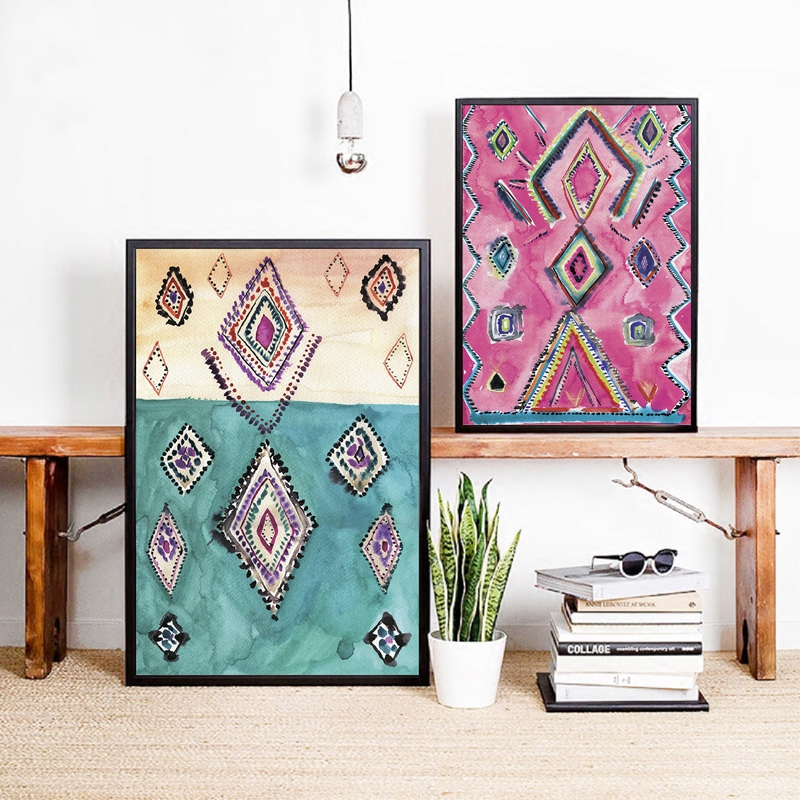 US $8.8 8% OFFMoroccan Rug Art Prints Boho Wall Decor Eclectic Poster ,  Watercolor Pink Eclectic Canvas Painting Modern Bohemian Home Wall ArtWall