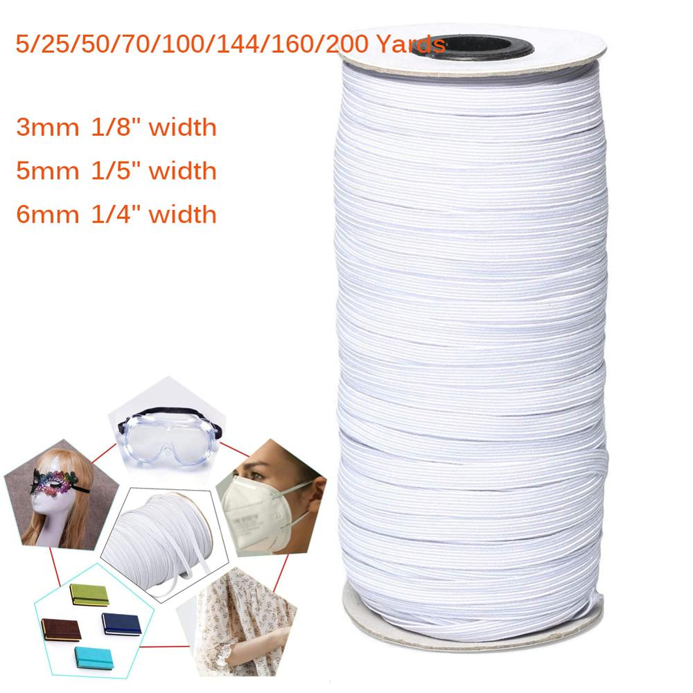 5/25/50/70/100/144/160/200 Yards 3mm/5mm/6mm Elastic Bands For Sewing DIY Braided Elastic Cord String Band For Mask Rope(China)